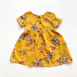 Old Navy yellow floral button down dress GUC   2T